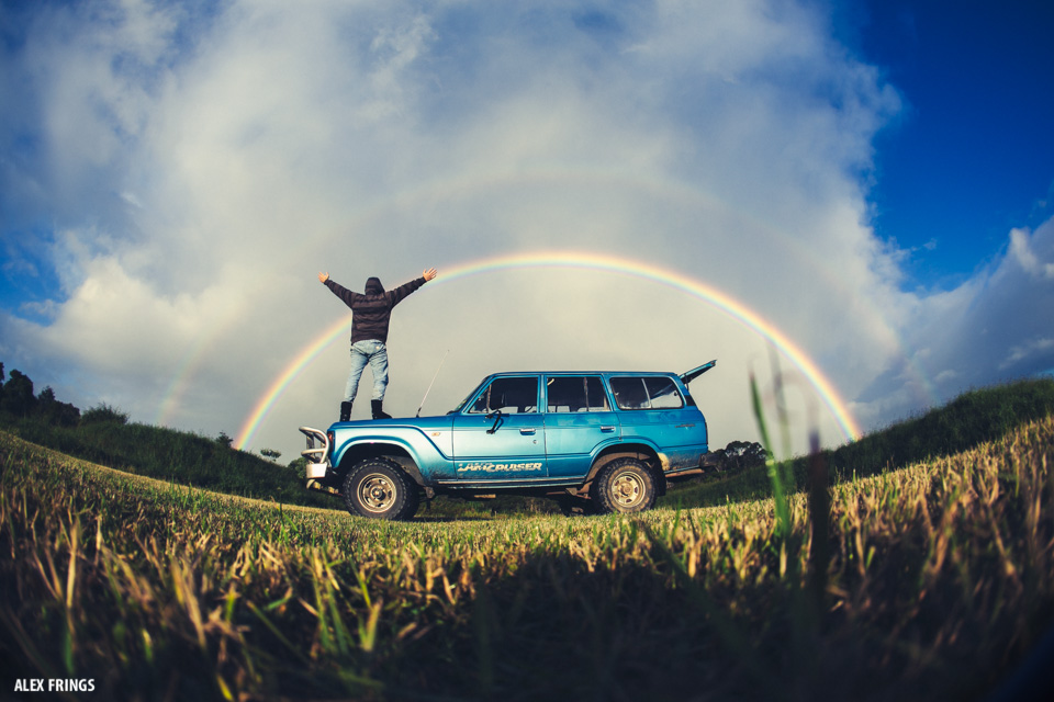 Alex Frings double rainbow Byron Bay