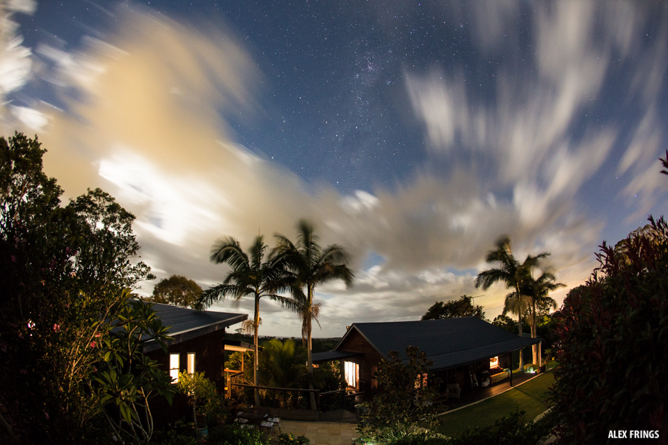 Coopers Shoot Byron Bay under a star filled sky