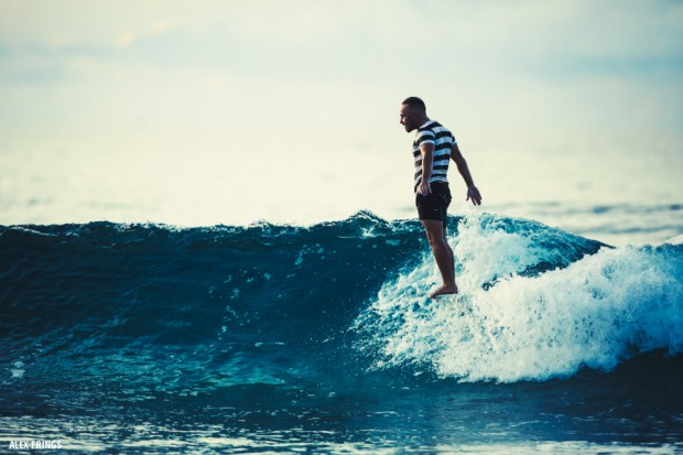 Matt Chojnacki hanging ten on his McTavish Surf longboard
