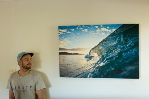 Alex Frings Blue Sky Barrel on Stretched Canvas