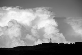 Byron Bay Lighthouse in front of Big Clouds